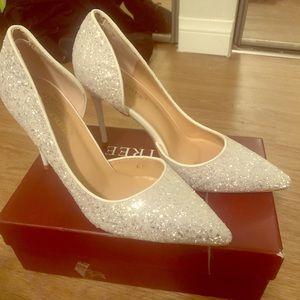 Shoes - White glitter heels